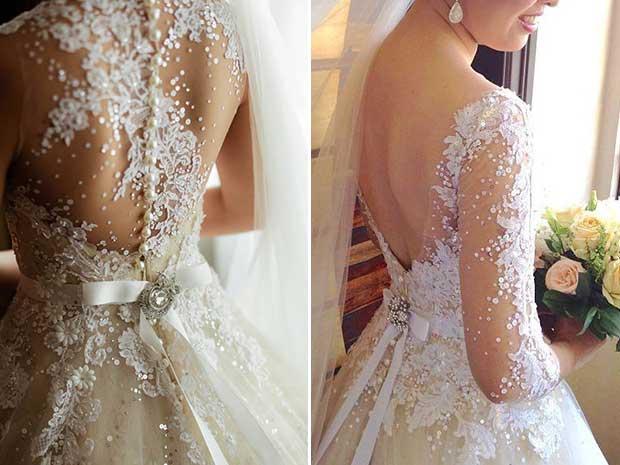 Modelos de Vestidos de noiva com- renda e decote nas costas