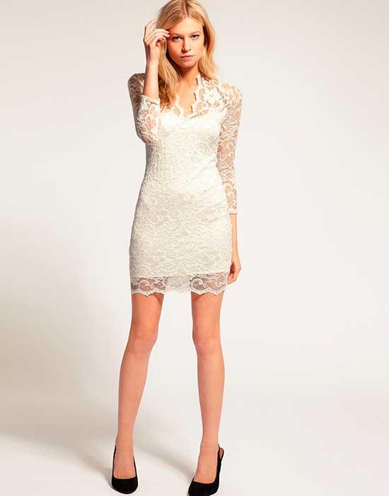 Modelos de Vestidos de renda curto branco