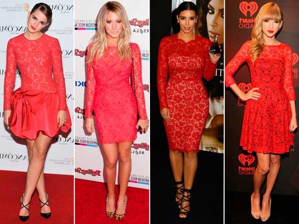 Modelos e fotos de Vestidos de renda curto vermelho