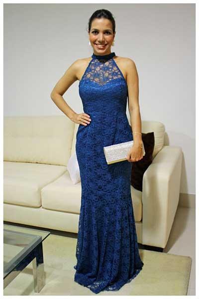 Vestido Social Longo Com Renda Vestidos de Renda Longos Azul