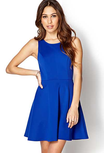 Vestido azul royal curto tubinho