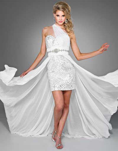 Vestido de formatura branco sexy